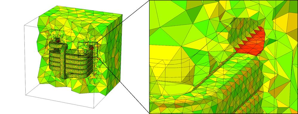An image showing the mesh results when the coil is meshed before the surrounding domain.