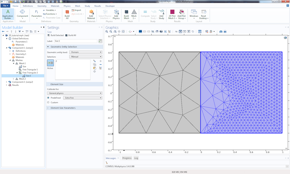 A screenshot of the meshing sequence in COMSOL Multiphysics with the different nodes highlighted.