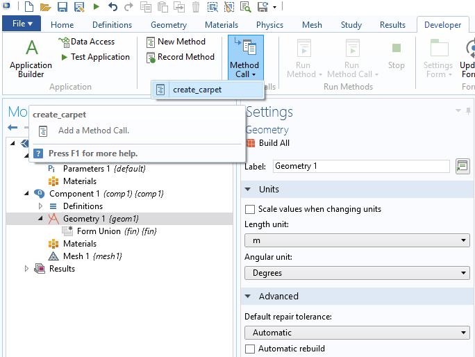 A screenshot showing how to run the create_carpet method via the Method Call button.