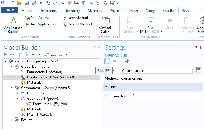 A screenshot showing how to change the recursion level when calling a method.