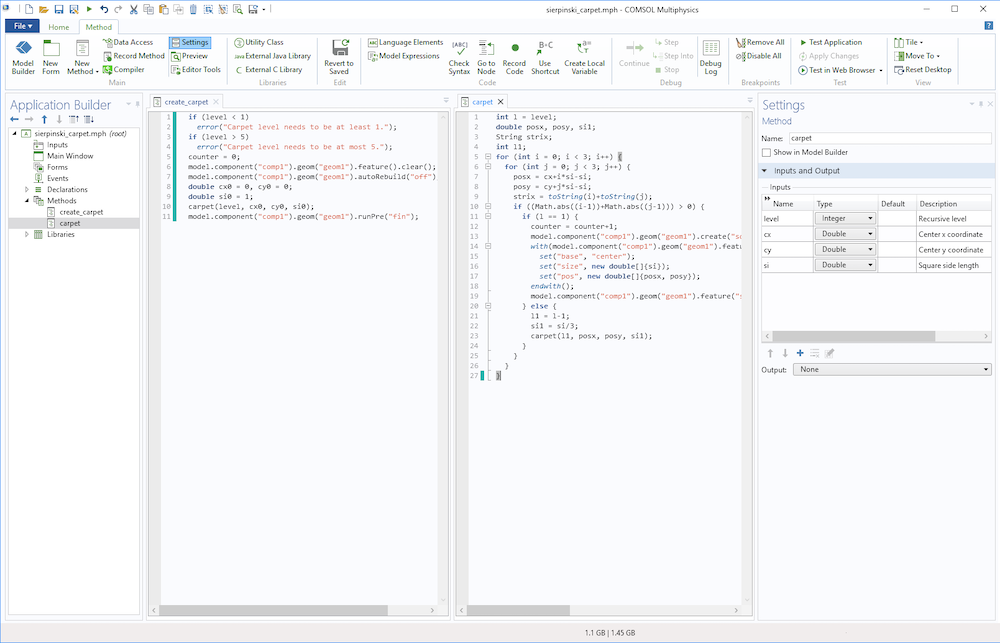 A screenshot of the Method Editor in COMSOL Multiphysics® showing side-by-side code.