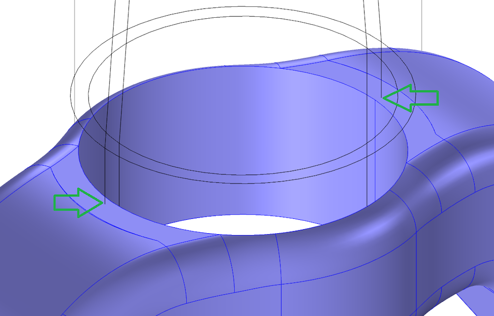 An image showing the overlap between a steerer tube and crown geometry after CAD import.