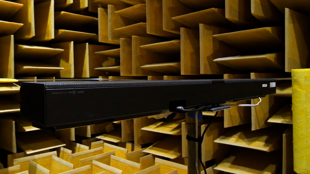 A photograph of a soundbar prototype tested in an anechoic chamber.