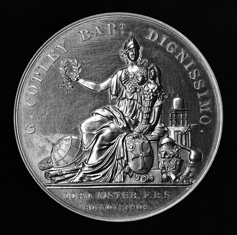 A photograph of a Copley Medal from 1902.
