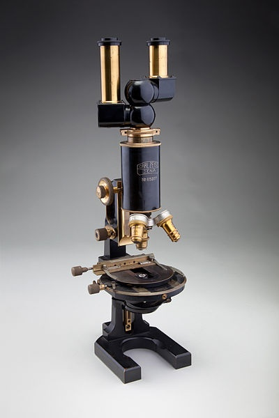 A photograph of a compound microscope similar to those developed by Carl Zeiss.