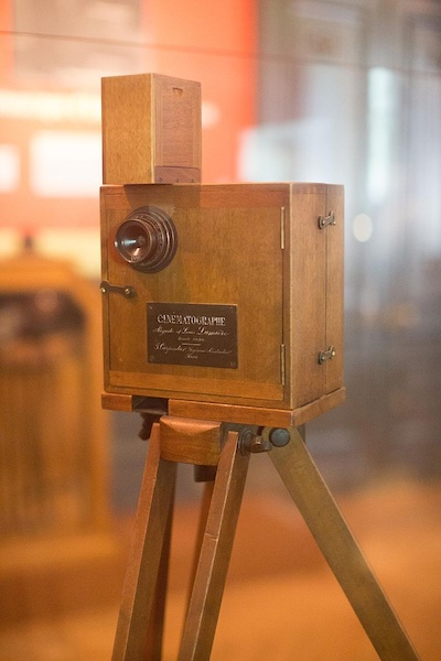 A photograph of a Cinematograph at the Lumiere Institute in France.