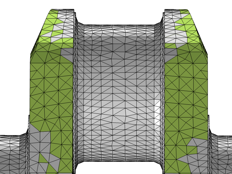 An image of the crankshaft mesh after the Adapt operation.