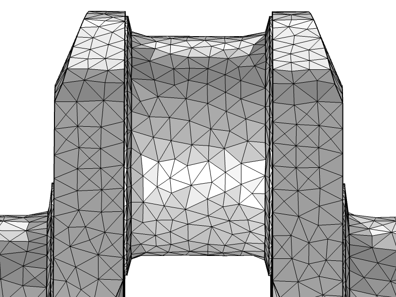 An image of the crankshaft mesh with the General modification setting.
