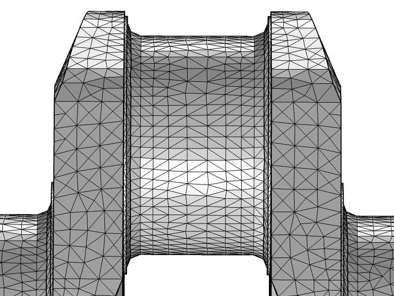 An image of the crankshaft mesh with the Longest edge refinement option.