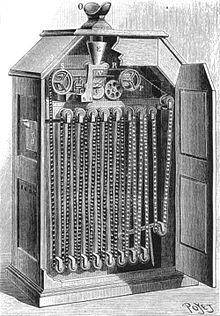 An illustration of a Kinetoscope developed in the 1800s.