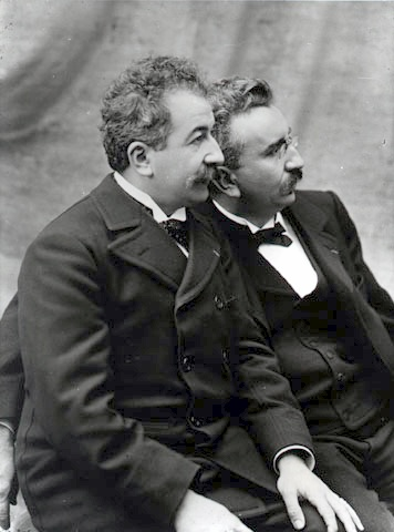 A black-and-white portrait of brothers August and Louis Lumiere.