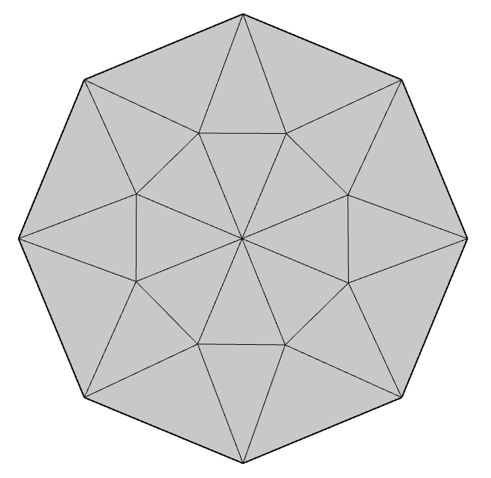 A graphic showing the mesh vertices on the refined mesh boundaries.