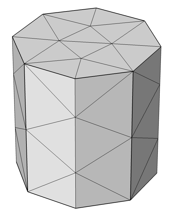 A graphic showing where the mesh vertices are on the refined mesh faces.
