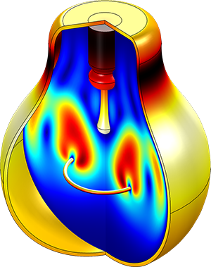 An image showing a light bulb modeled in COMSOL Multiphysics®.
