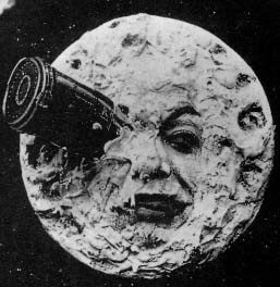 An image of an iconic scene from the early film A Trip to the Moon.
