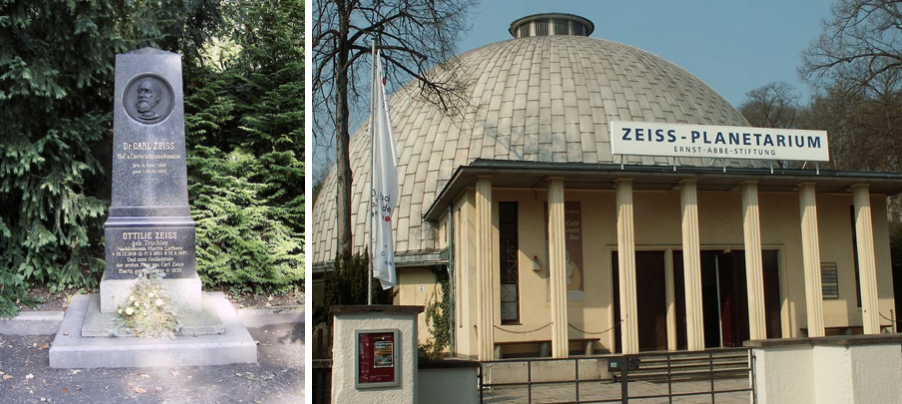 Side-by-side photographs of Carl Zeiss' grave and the Zeiss Planetarium, both located in Jena.