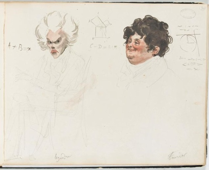 An image of an unfinished watercolor portrait of Legendre and Fourier.