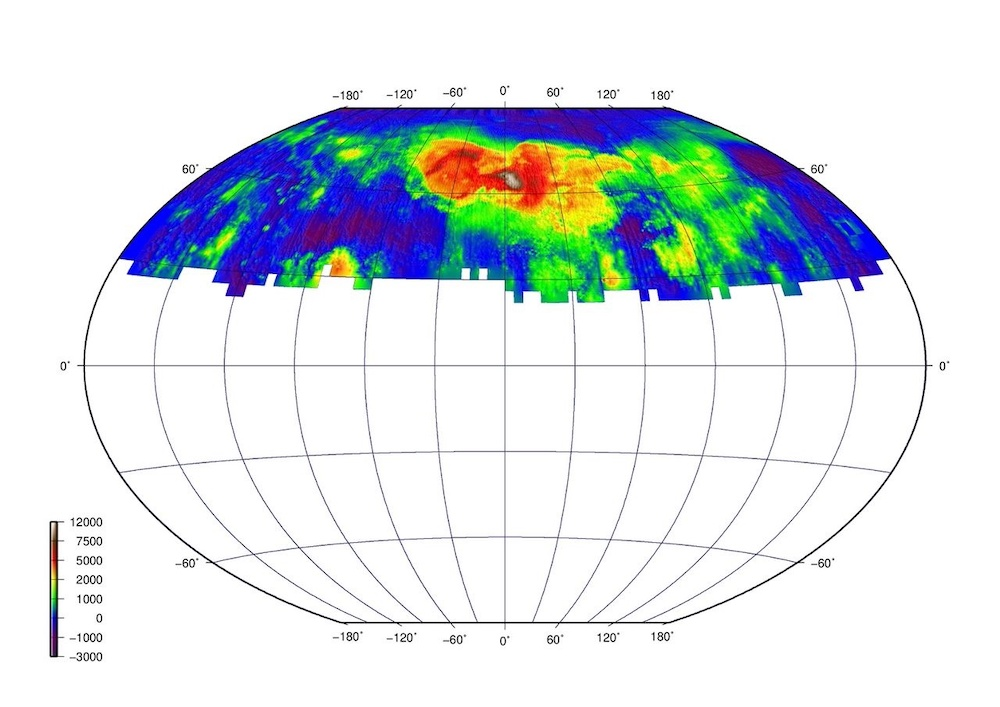 An image of a radar topography map of Venus.