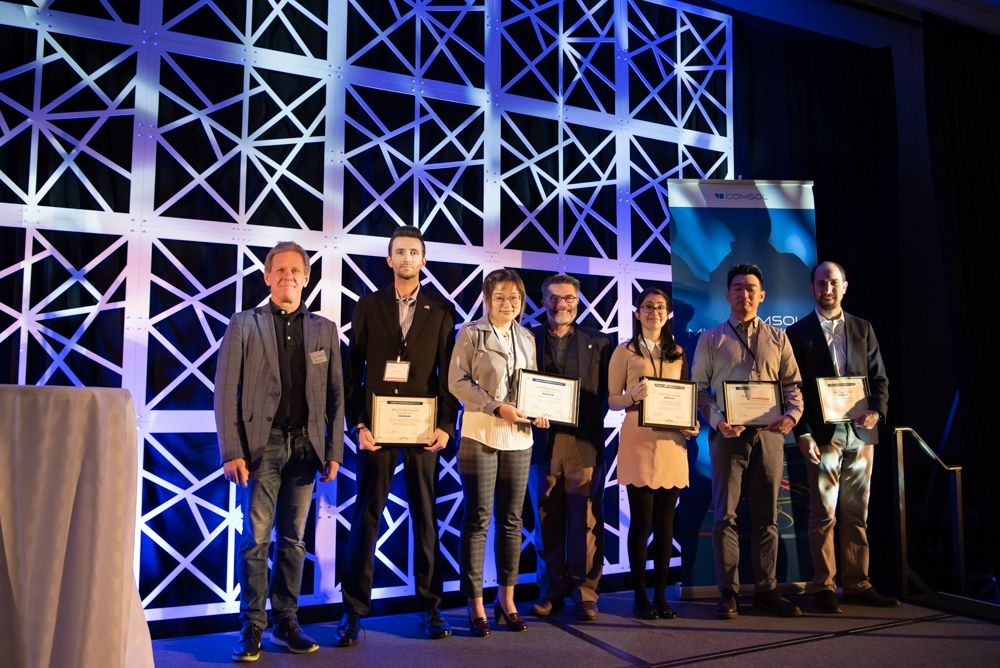 The 2019 Best Paper and Best Poster award winners with COMSOL's founder and CEO Svante Littmarck.
