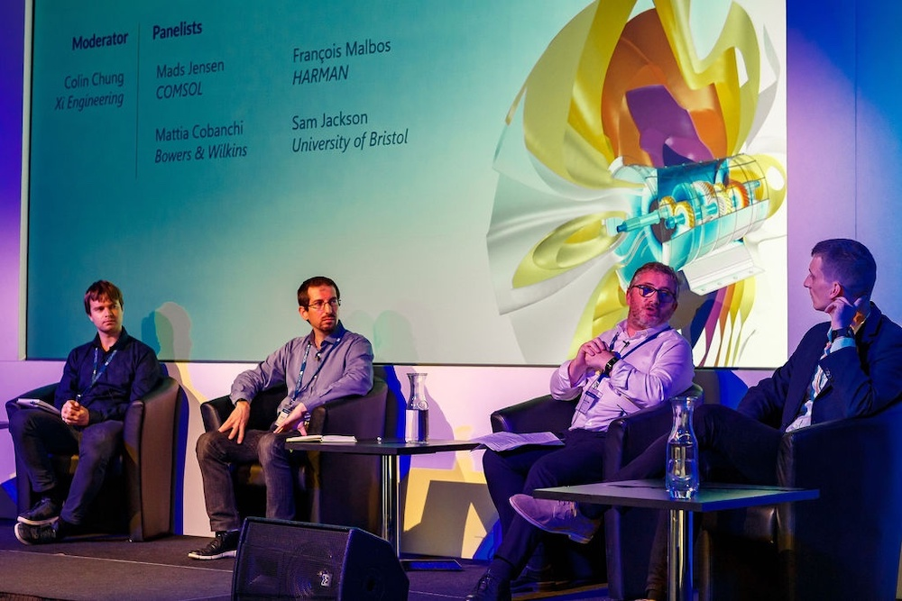 A photograph of a panel discussion at the COMSOL Conference 2019 Cambridge.