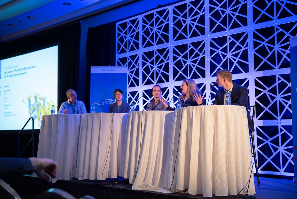 A photograph of the acoustics panel discussion at the COMSOL Conference 2019 Boston.