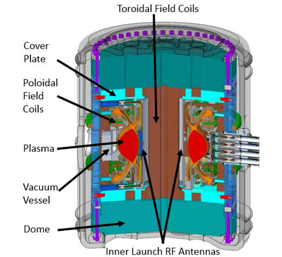 A schematic of the proposed tokamak with the different parts labeled, including coils and vacuum vessel.