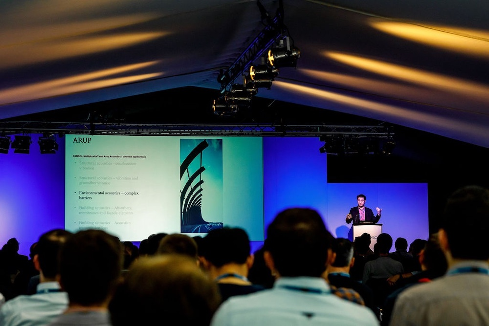 A photograph of one of the keynote talks from the COMSOL Conference 2019 Cambridge.