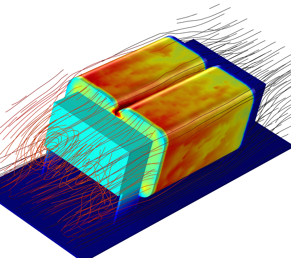 A DC choke model with streamlines to visualize the airflow during cooling.