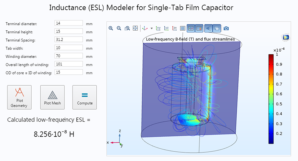 A simulation application with sample inputs and results for studying the effective series inductance of a single-tab film capacitor.