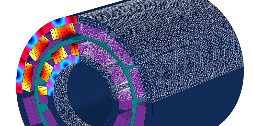 One magnetic coupling is modeled in 3D where you can see temperature, magnetic flux densities, and model mesh.