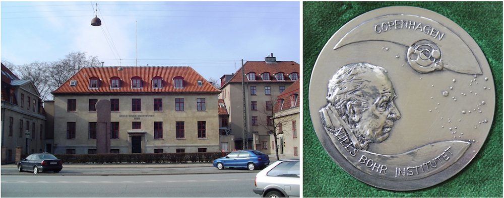 Side-by-side photos of the Niels Bohr Institute building and medal.