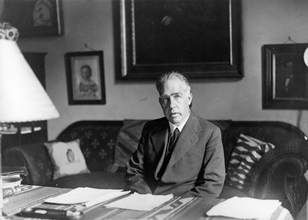 A photograph of physicist Niels Bohr.