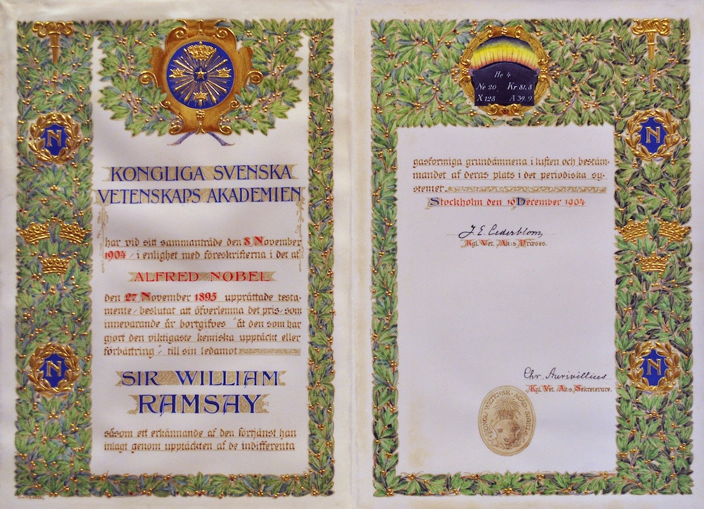 An image of the Nobel Prize certificate awarded to William Ramsay.
