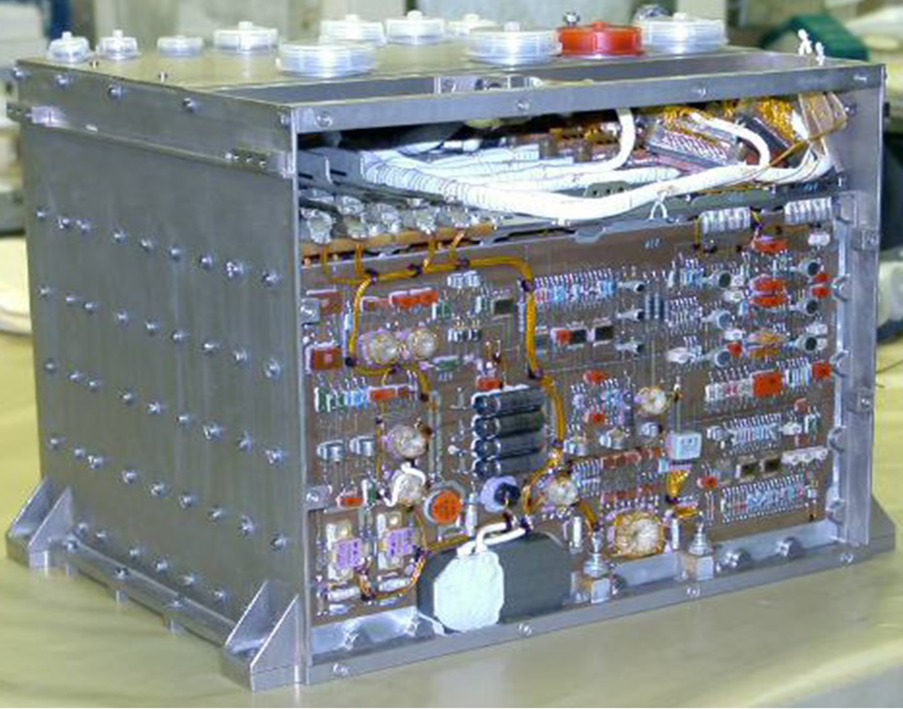 A photo of the circuit board used in satellite equipment.