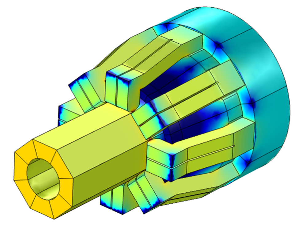 A 3D model of a tulip contact showing the current density distribution.