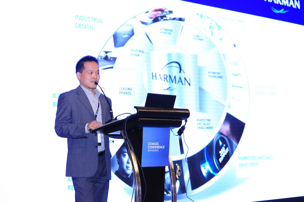 Mr. Chunhong Yang, director of HARMAN International (Suzhou), giving a keynote presentation.