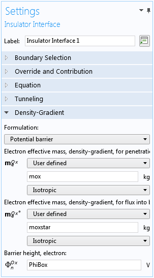A screenshot of the settings window when adding quantum confinement, accounted for in the density-gradient theory, at semiconductor–insulator interfaces.