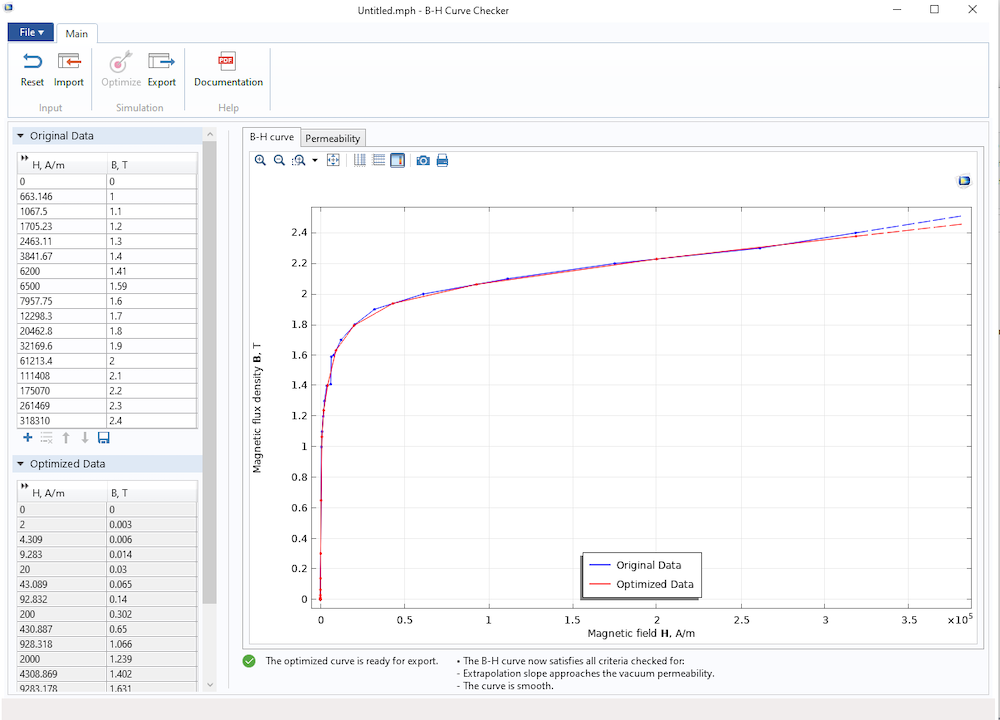 A screenshot of the B-H Curve Checker application in COMSOL Multiphysics®.