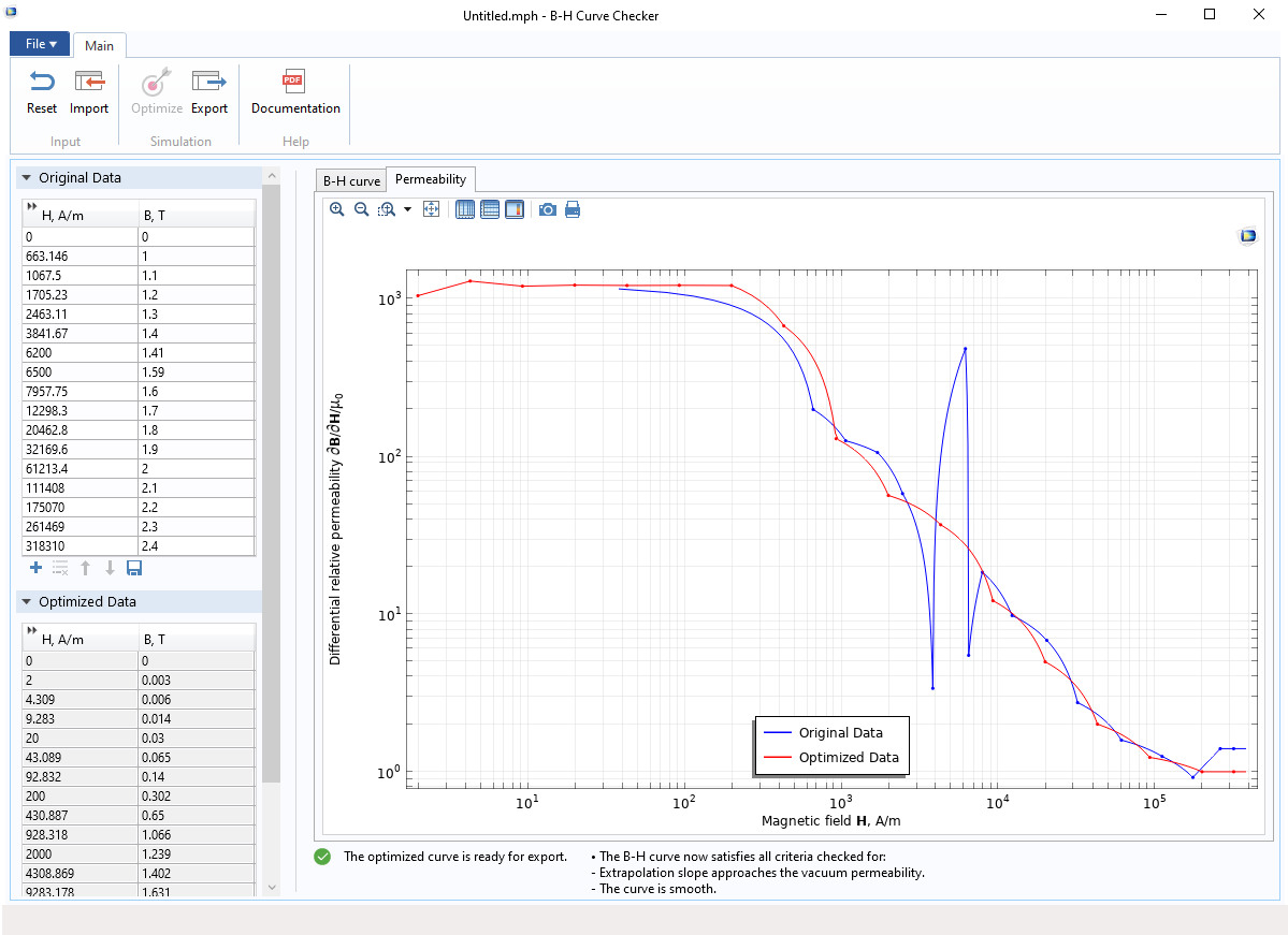 A screenshot of the B-H Curve Checker application, that shows the differential permeability of the B-H curves.