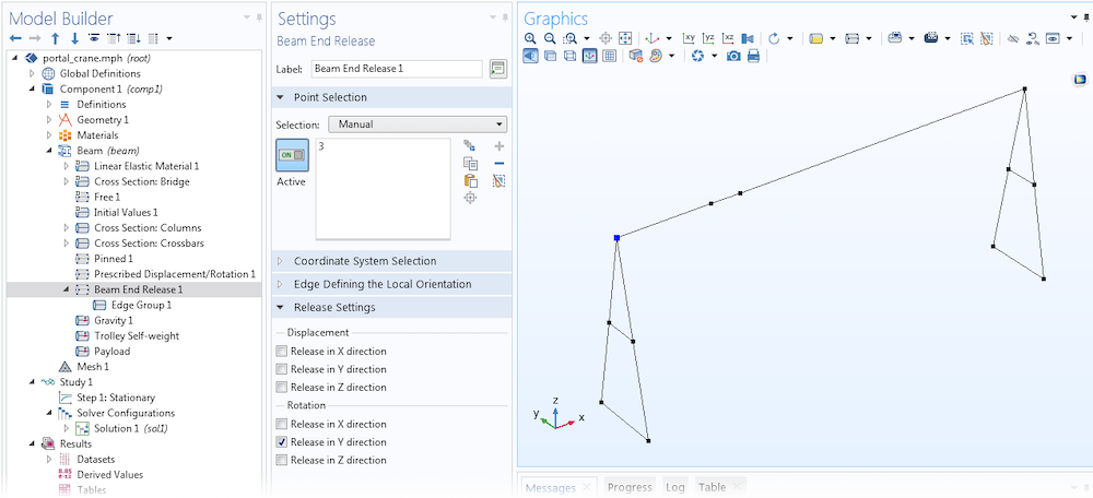 A screenshot of the Settings window for the Beam End Release feature, now available in COMSOL Multiphysics.