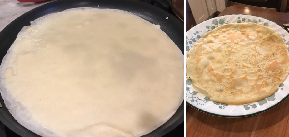 Side-by-side photos of unevenly spread crepe batter and the subpar results.