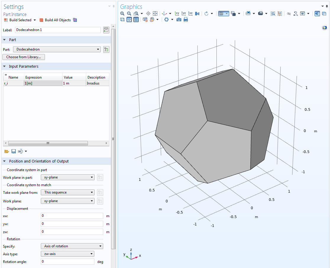 A screenshot showing how and where to change the parameters of a dodecahedron.