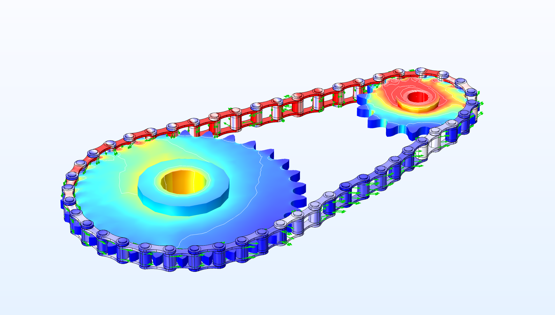 You can now perform multibody analyses of roller chain sprocket models.