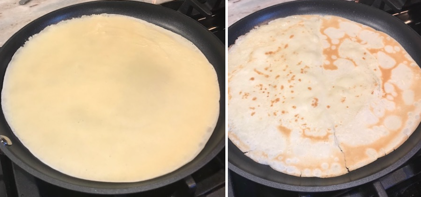 Side-by-side photos showing even batter distribution and the optimized crepe.