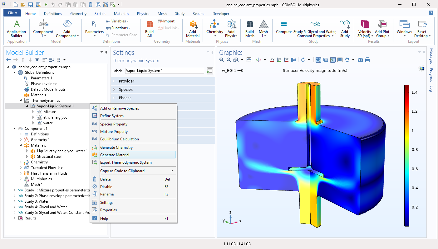 Generate a material from a thermodynamic system for chemical modeling.