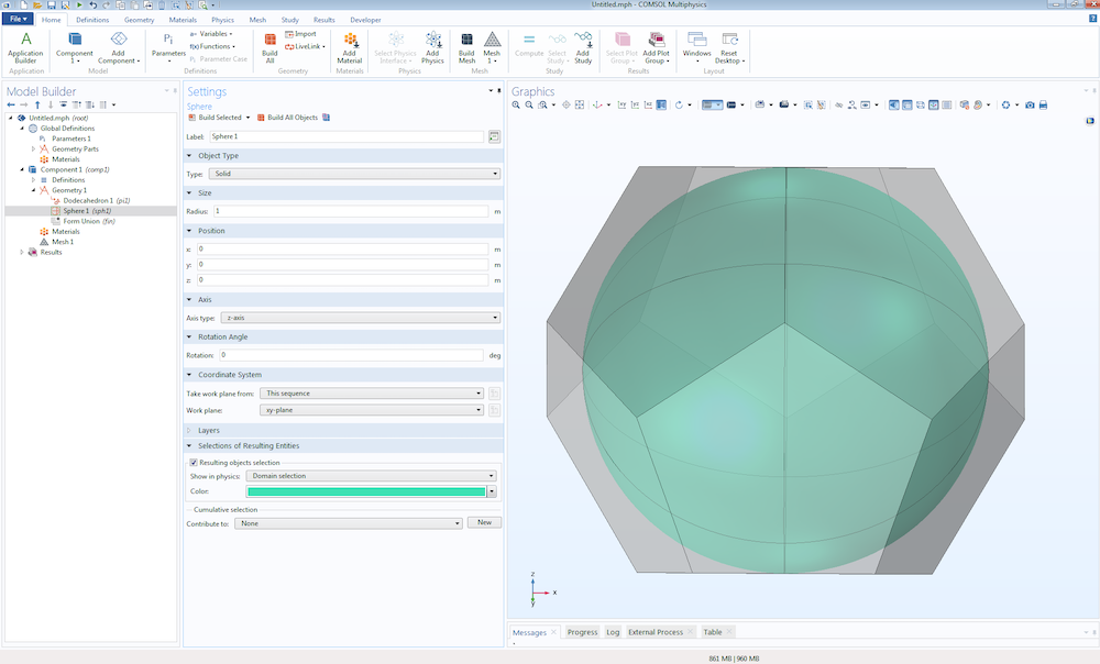 A screenshot showing how to create an inscribed sphere.