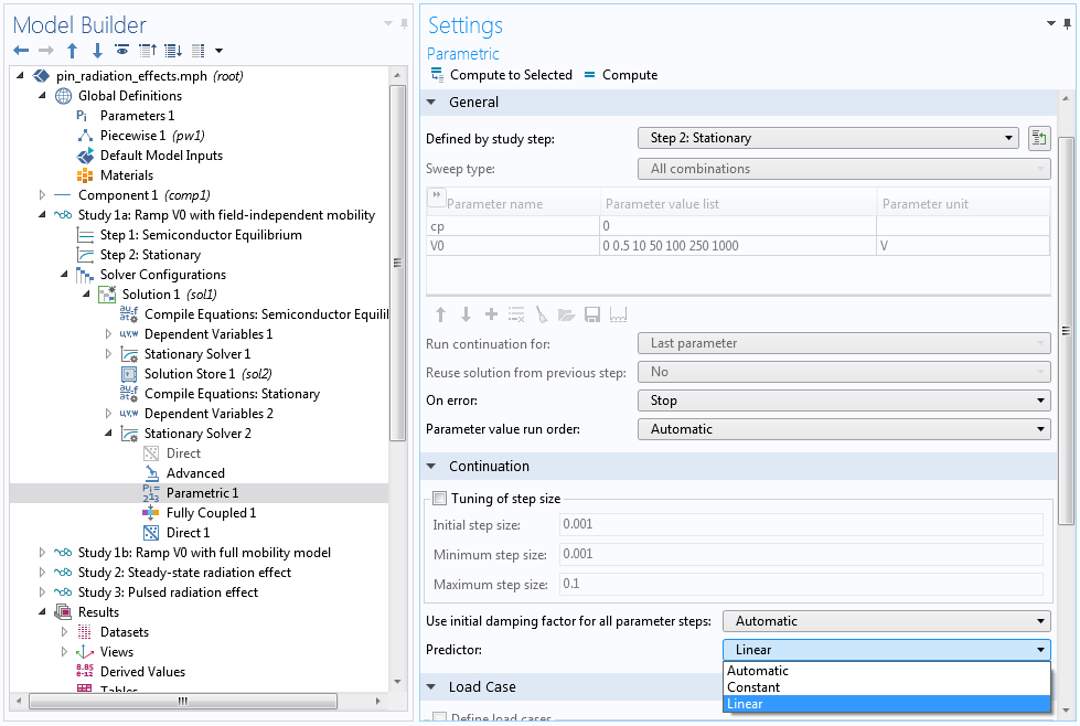 A screenshot of the Parametric Settings window used to select the linear predictor.