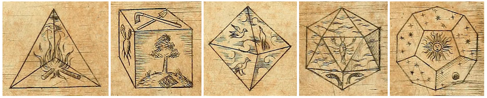 Five side-by-side images showing the platonic solids.