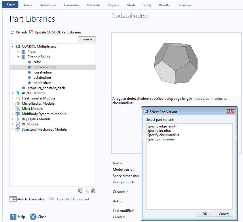 A screenshot of where Platonic Solids can be found in COMSOL multiphysics.