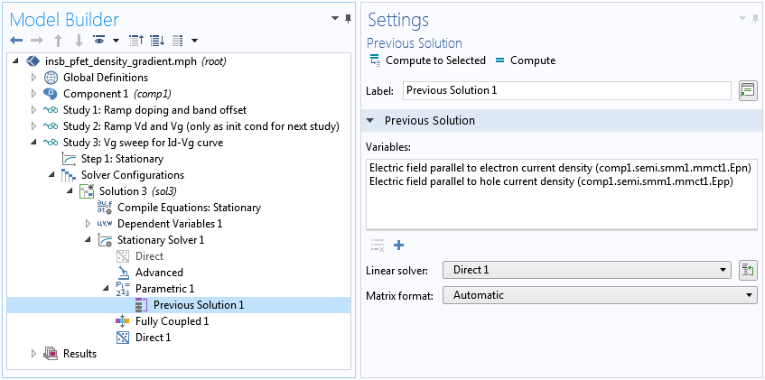 A screenshot of the Model Builder settings window in COMSOL Multiphysics, showing the Previous Solution node.